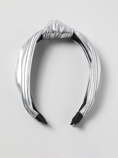 Metallic headband with knot
