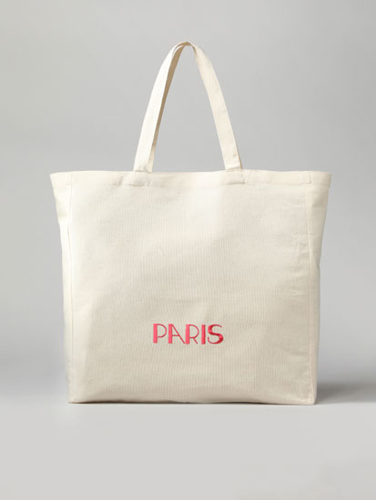 Paris fabric tote bag