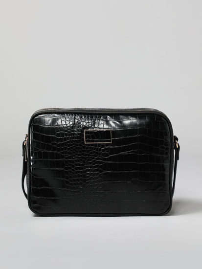 Faux crocodile leather bag