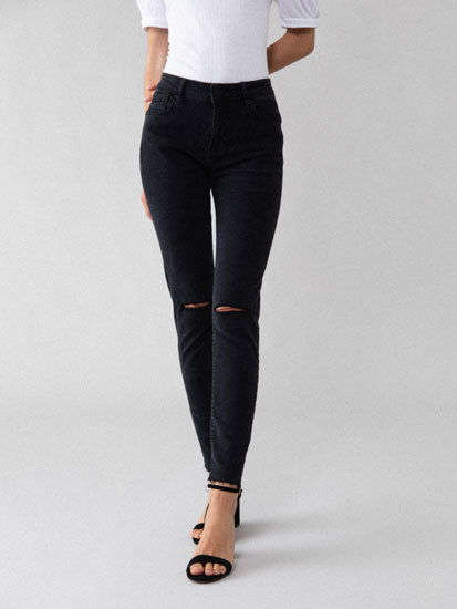 Jeans skinny push-up con rotos