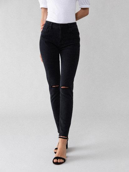 Jeans skinny fit push-up com rasgões