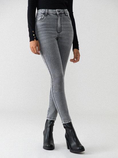 Calças de ganga básicas cintura subida
