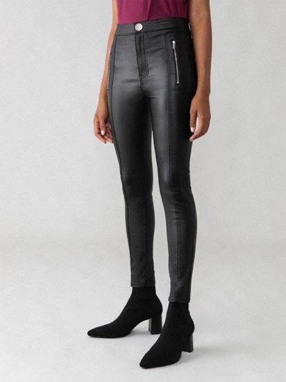 Jeans encerados de tiro alto