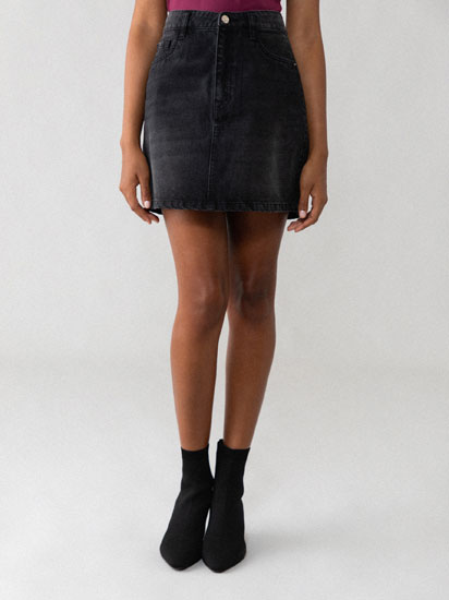 Short denim skirt