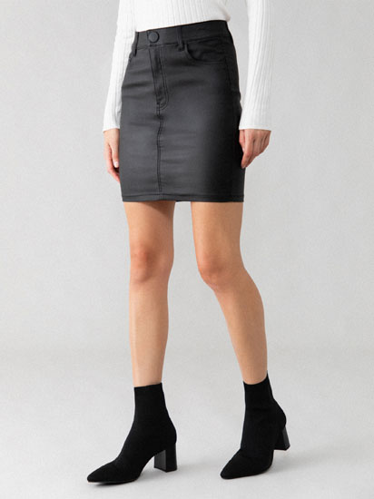 Waxed mini skirt