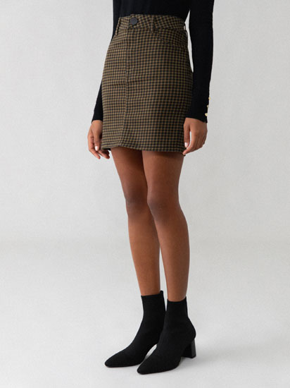 Checked denim skirt