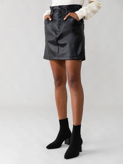 Faux leather drawstring skirt