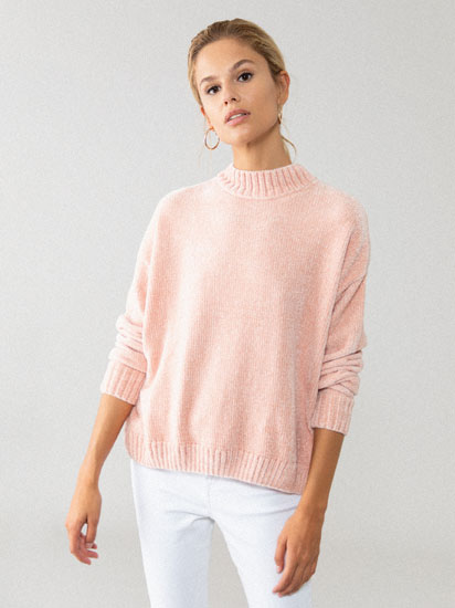 Chenille high neck sweater