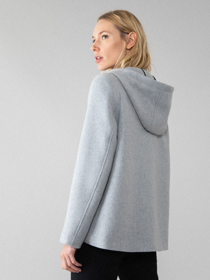 Basic long wool coat with hood