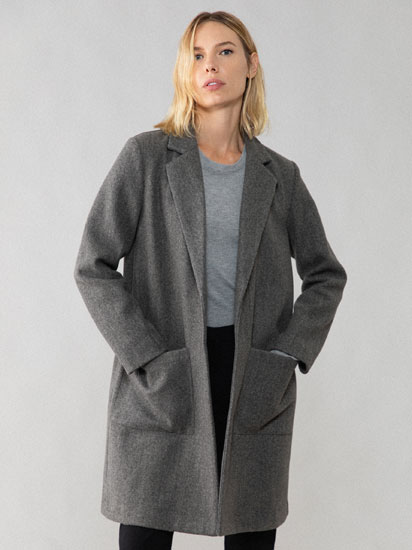 Synthetic wool masculine coat