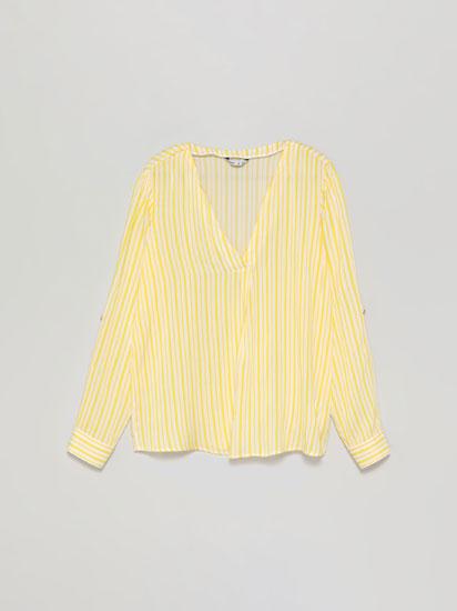 Shirt with a crossover V-neckline