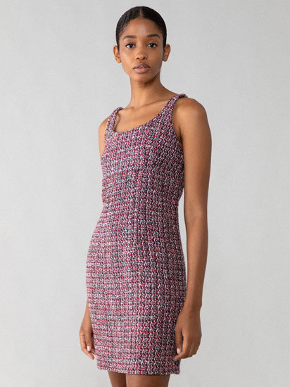Textured fabric dress