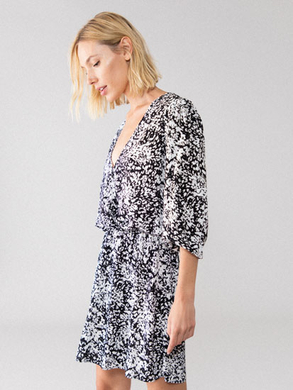 Printed crossover neckline dress