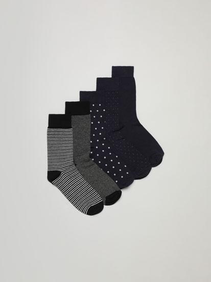 Pack of 5 pairs of semi-basic long socks