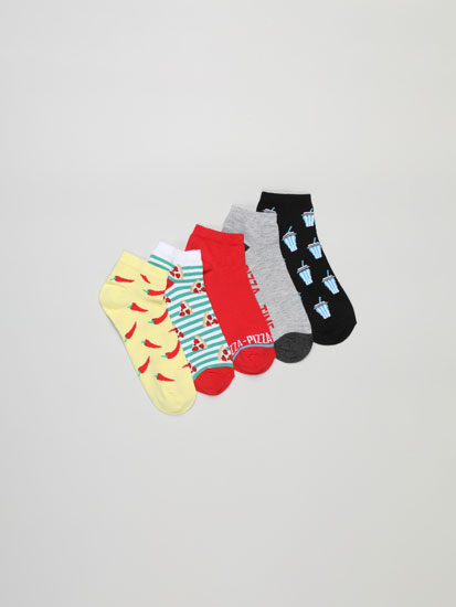 Pack of 5 pairs of pizza ankle socks