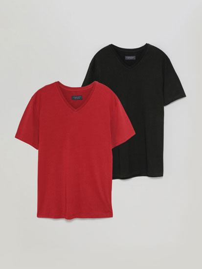 Pack de 2 Camisetas Básicas con Cuello Pico