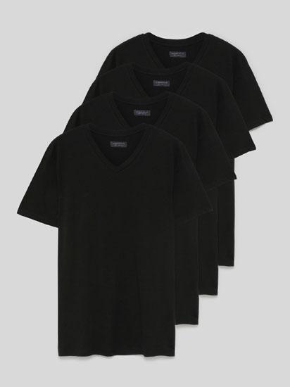Pack de 4 Camisetas Básicas de Cuello Pico