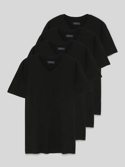 Pack de 4 camisetas básicas de colo pico
