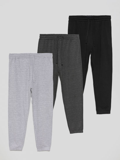 Pack of 3 pairs of basic joggers