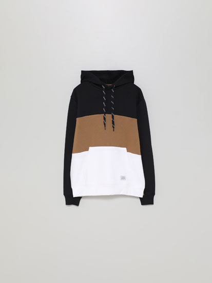 Sweatshirt color block com capuz