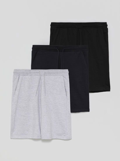 Pack of 3 pairs of basic jogging Bermuda shorts