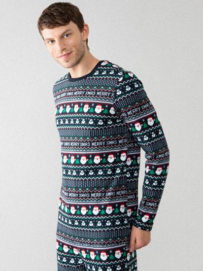 Conjunto de pijama familiar com estampado de Natal