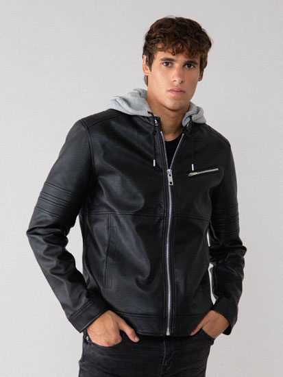 Biker Jacket with Plush Hood