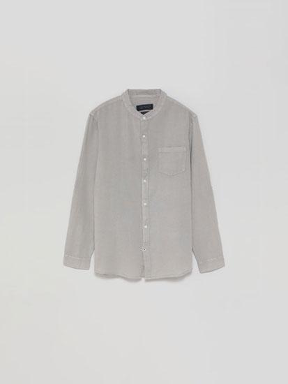 Camisa de linho e algodão com gola mao
