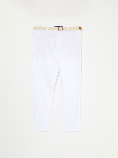 Chinos with braided belt