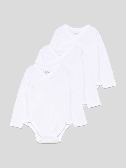 Pack of 3 basic long sleeve kimono bodysuits