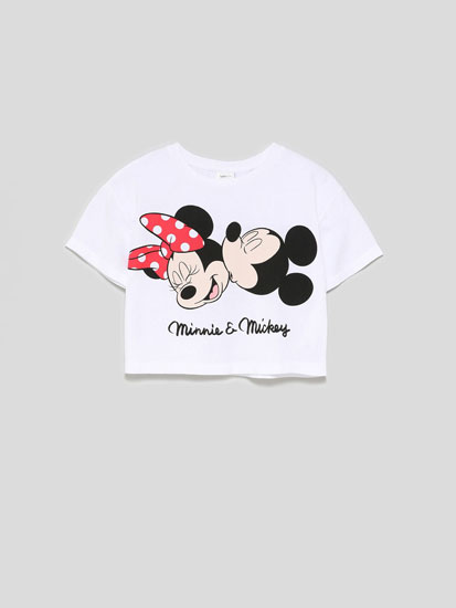 Camiseta cropped Minnie e Mickey ©Disney