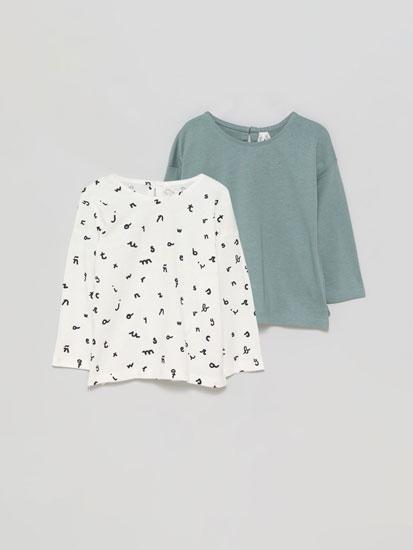 Pack de 2 camisetas básicas lisa e estampada de manga longa