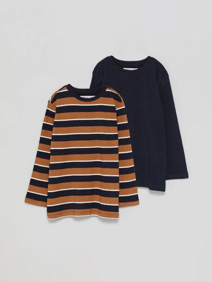 Pack de 2 camisetas básicas lisa e raias de manga longa
