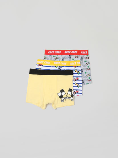 PACK OF 3 PAIRS OF BOXER SHORTS WITH RACE CARS PRINT