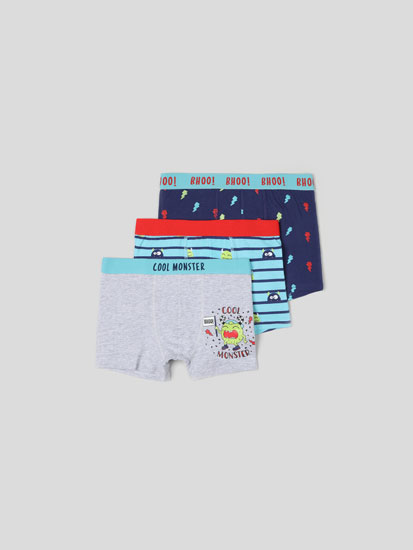 3-PACK OF MONSTER PRINT BOXER SHORTS.