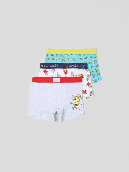 PACK OF 3 PAIRS OF BOXER SHORTS WITH FAST FOOD PRINT