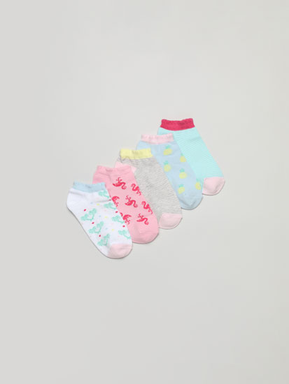 Pack of 5 pairs of ankle socks with dinosaur print