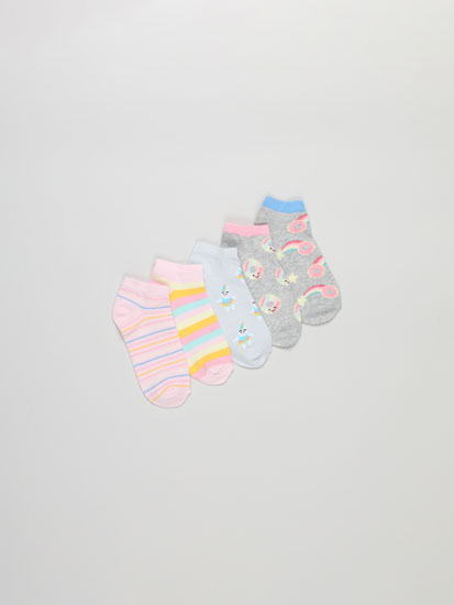 Pack of 5 pairs of donut print ankle socks