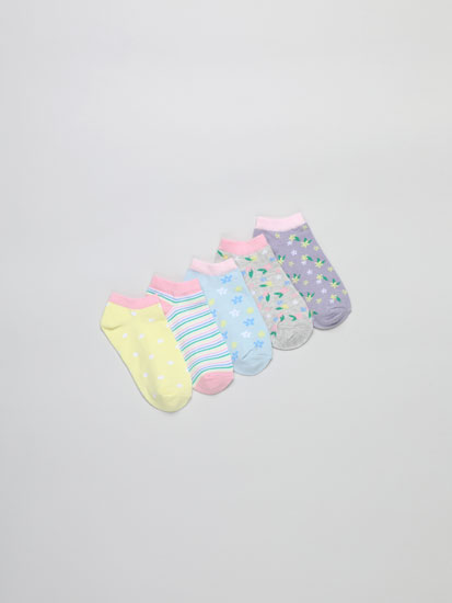 Pack of 5 pairs of ankle socks with floral print