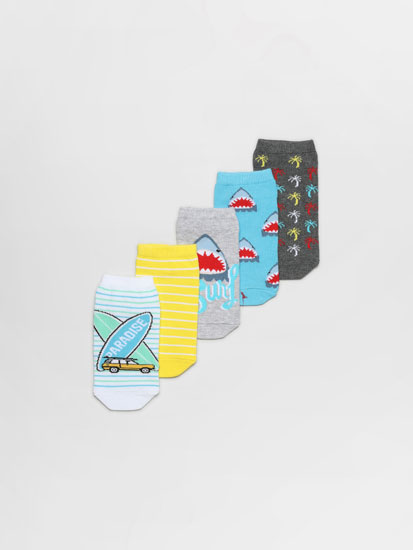 Pack of 5 pairs of ankle socks with shark and surf prints