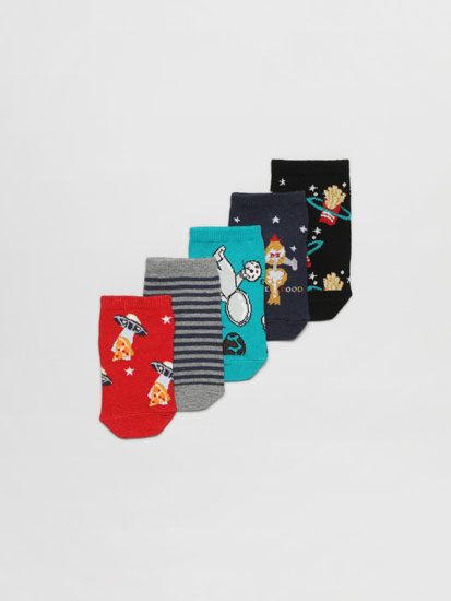 Pack of 5 pairs of ankle socks with a fast food print