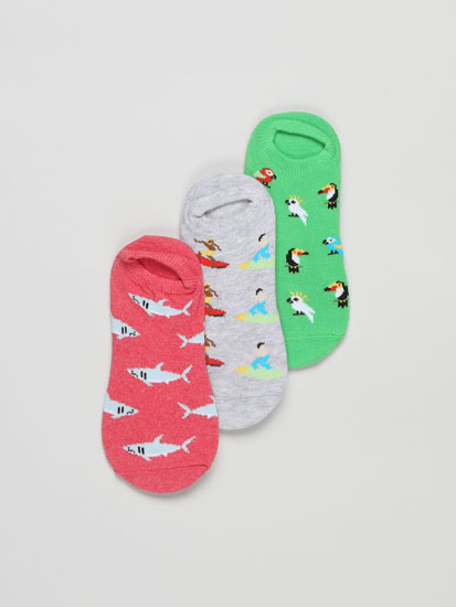 Pack of 3 pairs of no-show socks with a tropical print
