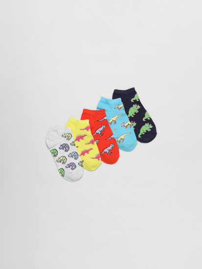 Pack of 5 pairs of ankle socks with dinosaurs print