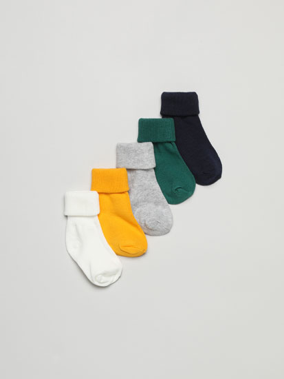PACK OF 5 PAIRS OF LONG SOCKS WITH RIBBED FOLD-DOWN CUFFS