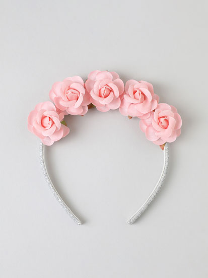 Headband with glittery details and floral print