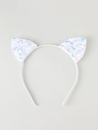 Headband with iridescent sequin ears