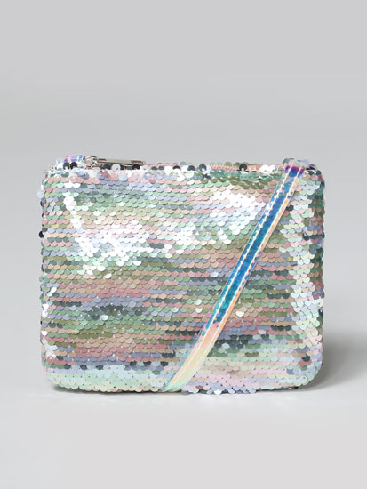 Crossbody bag with iridescent sequins