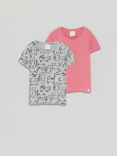 2-Pack of basic plain and printed short sleeve T-shirts