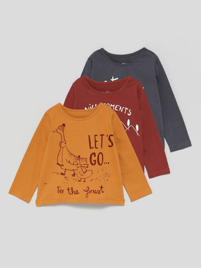 Pack of 3 printed long sleeve T-shirts
