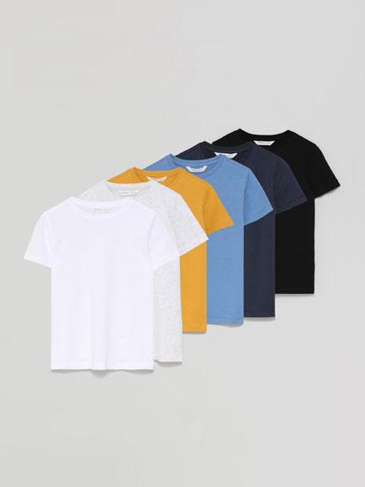 Pack de 6 camisetas básicas de manga curta